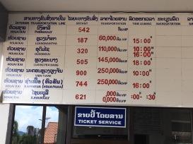 Precios - Estación Huay Xai Bokeo, Laos
