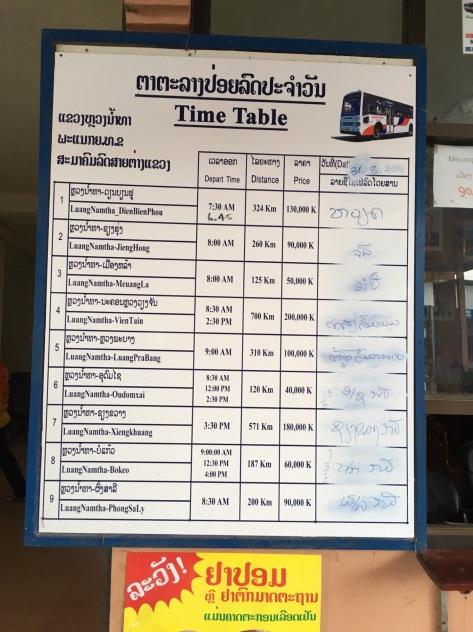 Precios de Luang Namtha a diversos destinos