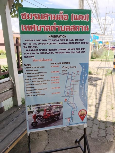 Precios en estación de Tuk-tuks, Chiang Khong